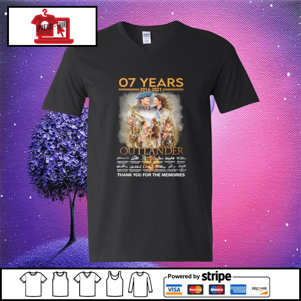 07 years 2012 2021 Outlander thank you for the memories signature v-neck-t-shirt