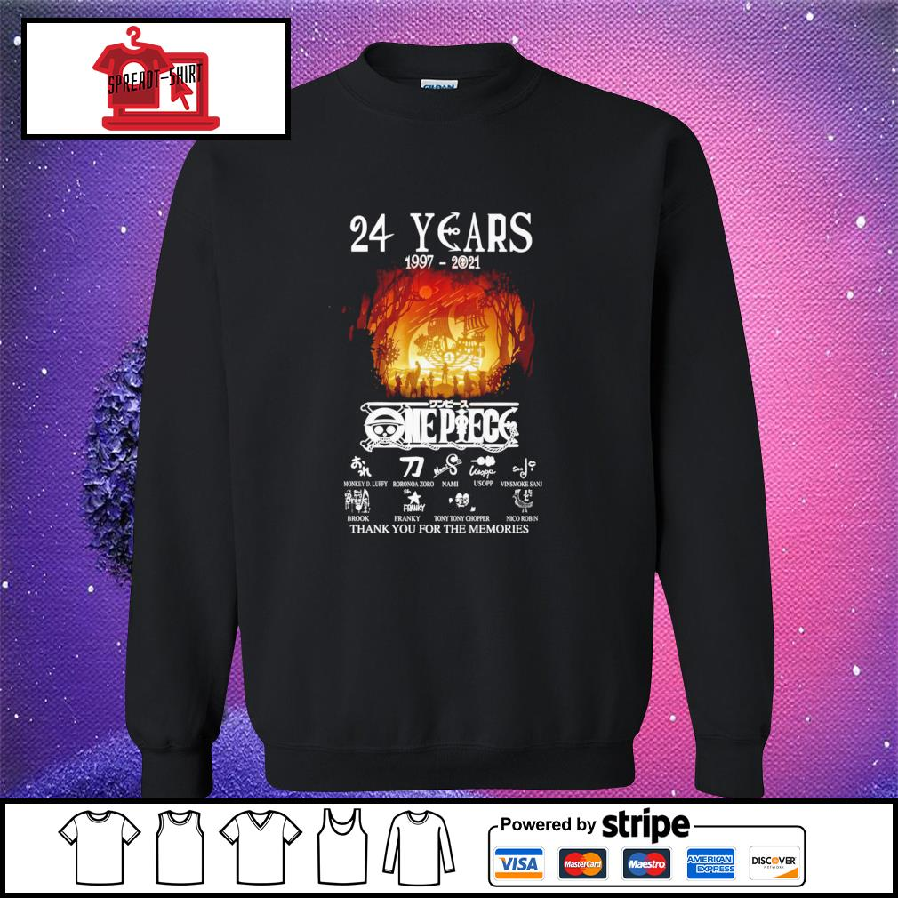 24 years 1997 2021 One Piece thank you for the memories signature sweater
