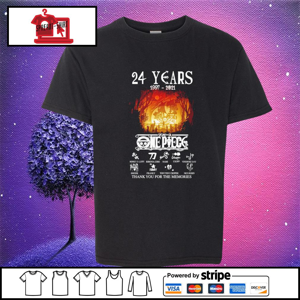 24 years 1997 2021 One Piece thank you for the memories signature youth-tee