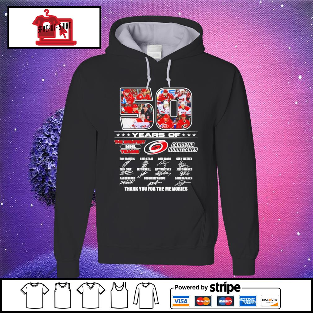 50 years of The greatest NHL teams Carolina Hurricanes thank you for the memories signature hoodie