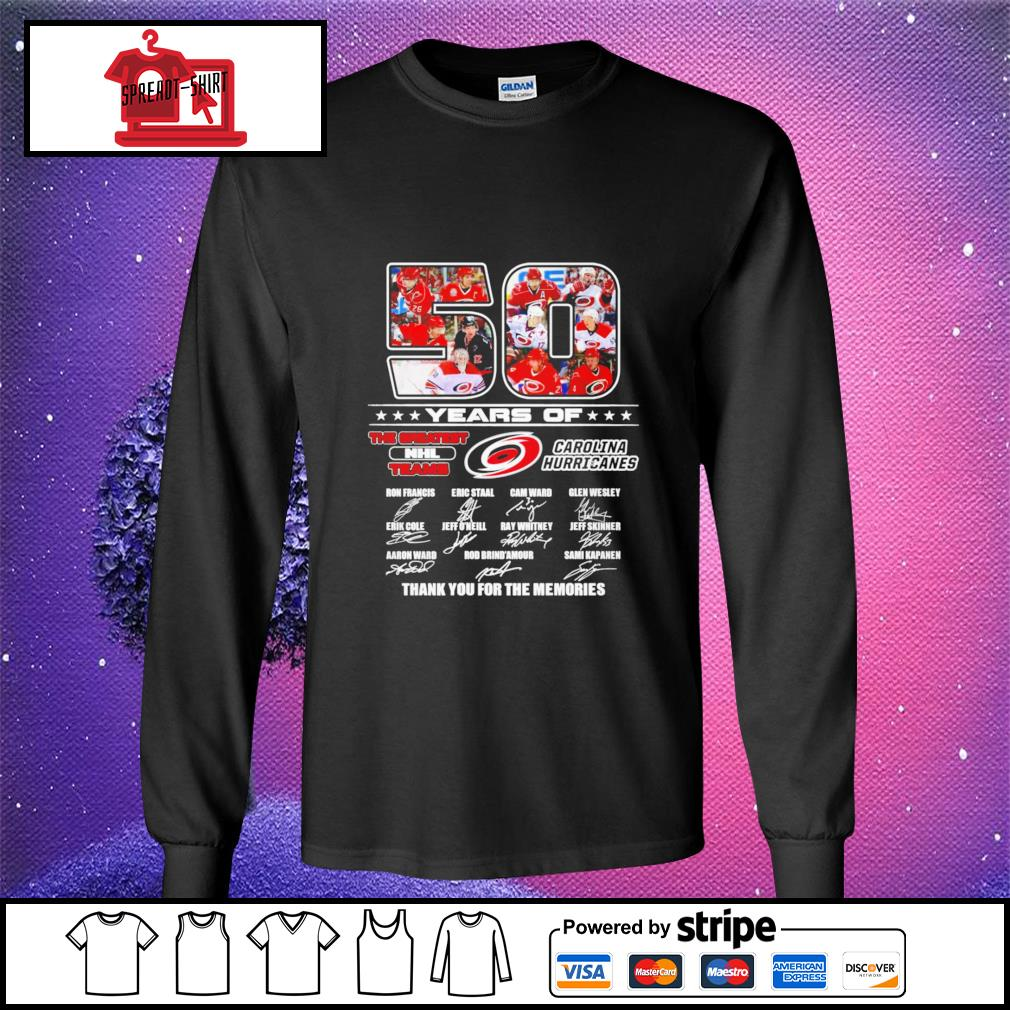 50 years of The greatest NHL teams Carolina Hurricanes thank you for the memories signature longsleeve-tee