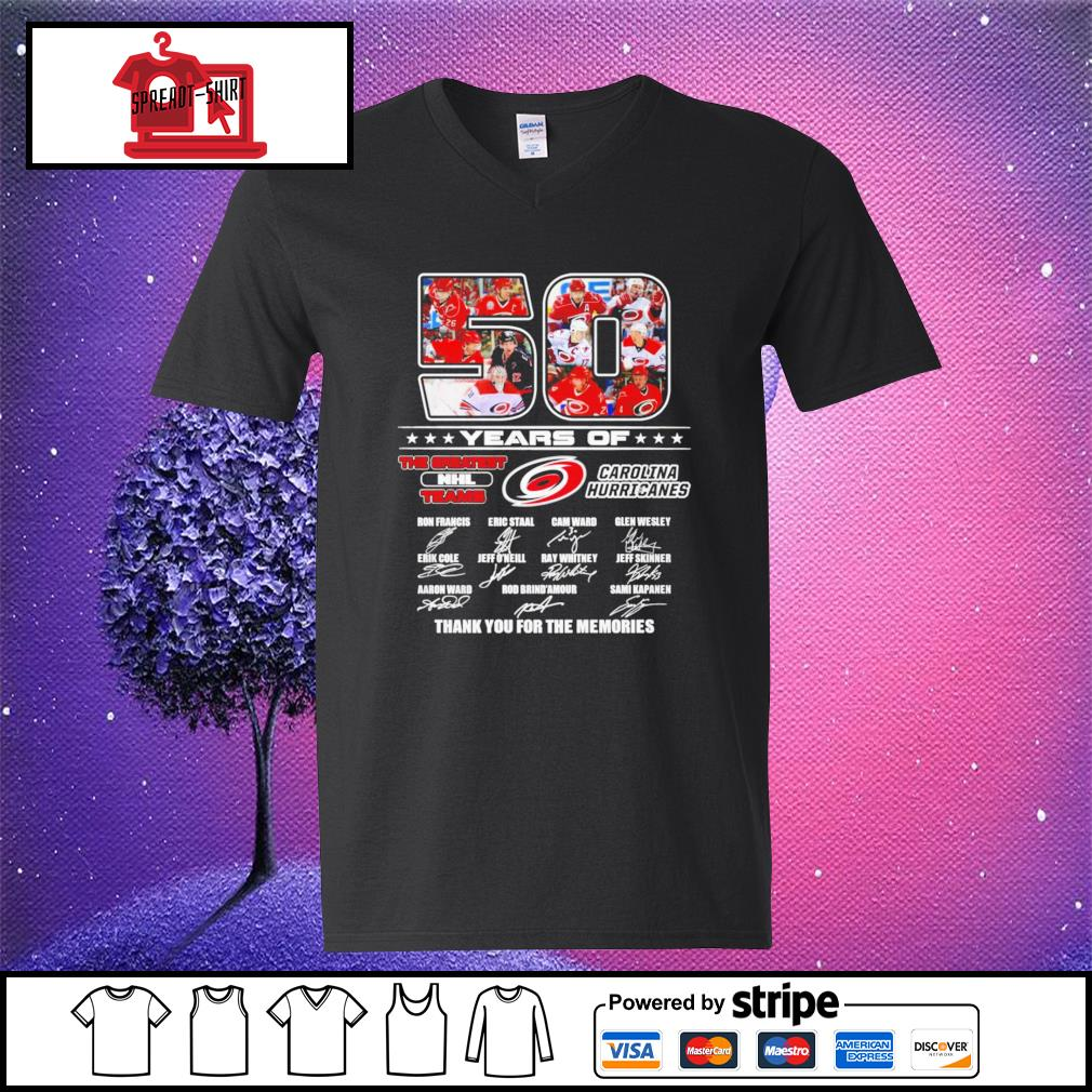 50 years of The greatest NHL teams Carolina Hurricanes thank you for the memories signature v-neck-t-shirt