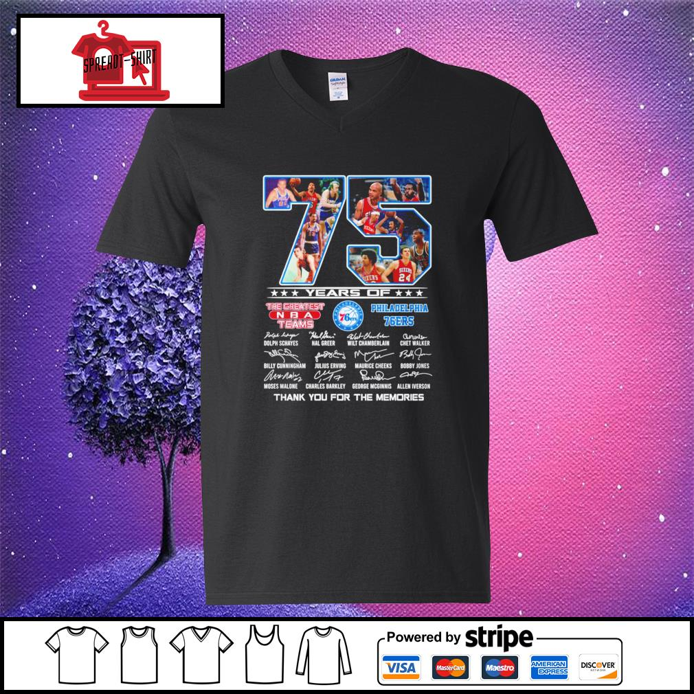 75 years of The greatest NBA teams Philadelphia 76Ers thank you for the memories signature v-neck-t-shirt