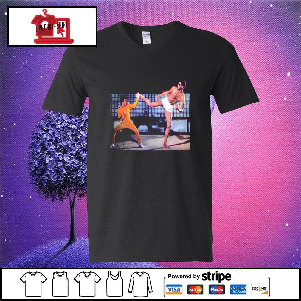 Kareem Abdul Jabbar and Bruce Lee Game of Death v-neck-t-shirt