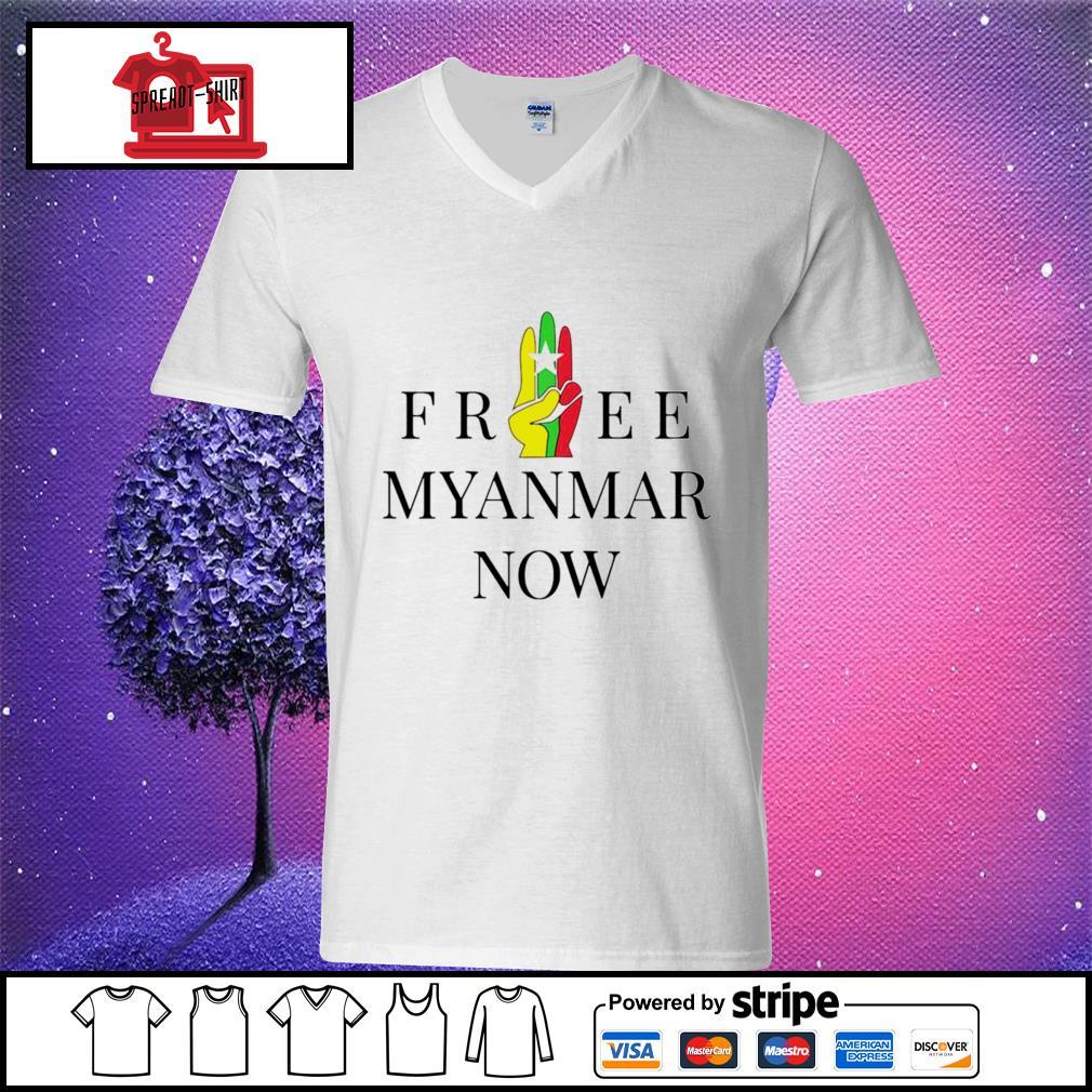 Myanmar Flag free Myanmar now s v-neck t-shirt
