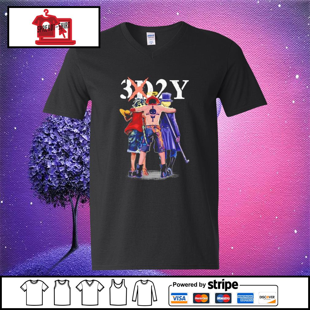 One Piece 3d2y Luffy Ace and Sabo v-neck-t-shirt