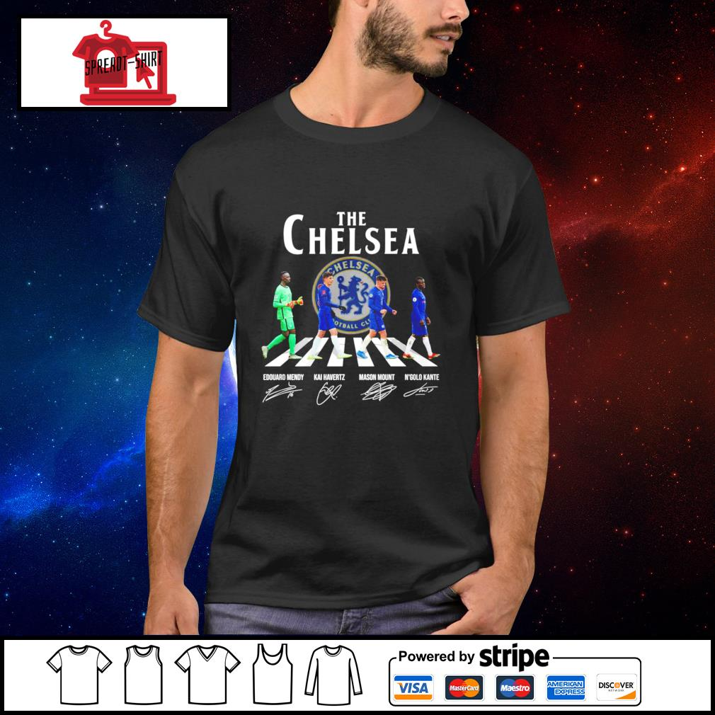 The Chelsea Edouard Mendy Kai havertz Mason Mount and N'golo Kante signature shirt