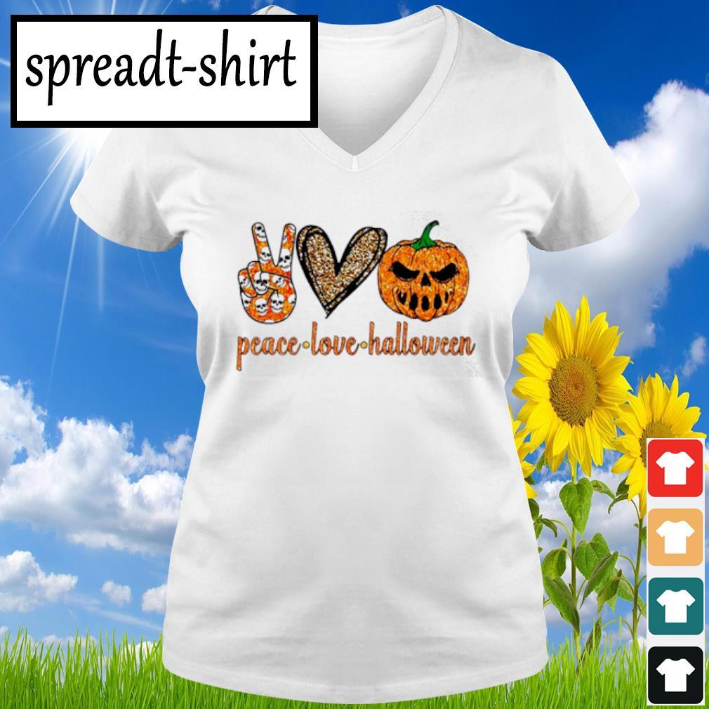 Peace Love Halloween diamond s V-neck T-shirt