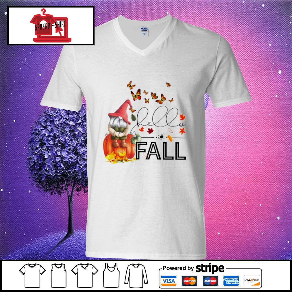 Hello Fall Gnome s v-neck t-shirt