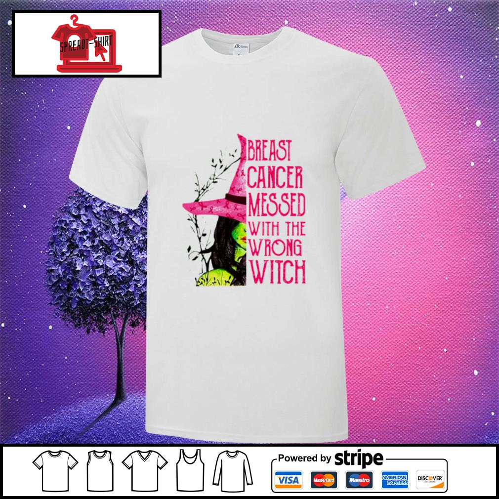 Pink Witch Breast Cancer Messed With The Wrong Witch Classic T-Shirt, Funny Pink Halloween Shirt