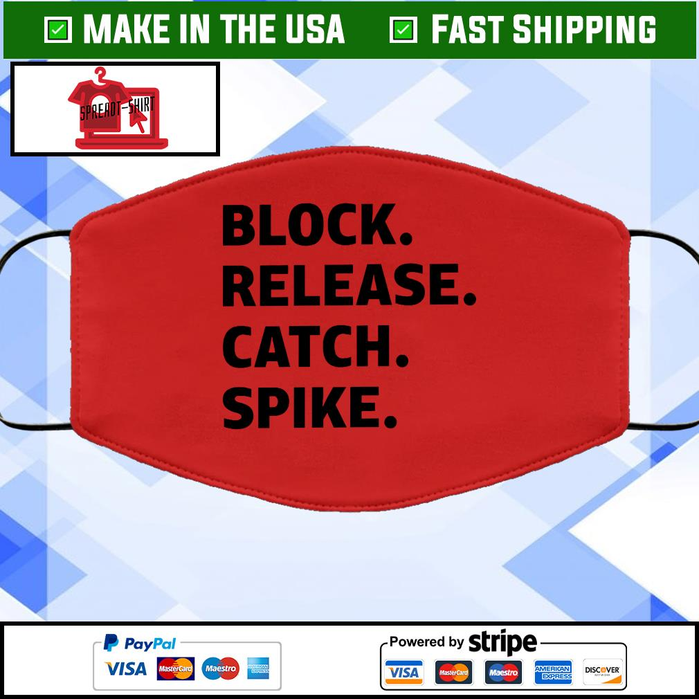 Block release catch spike Face Mask Washable Red