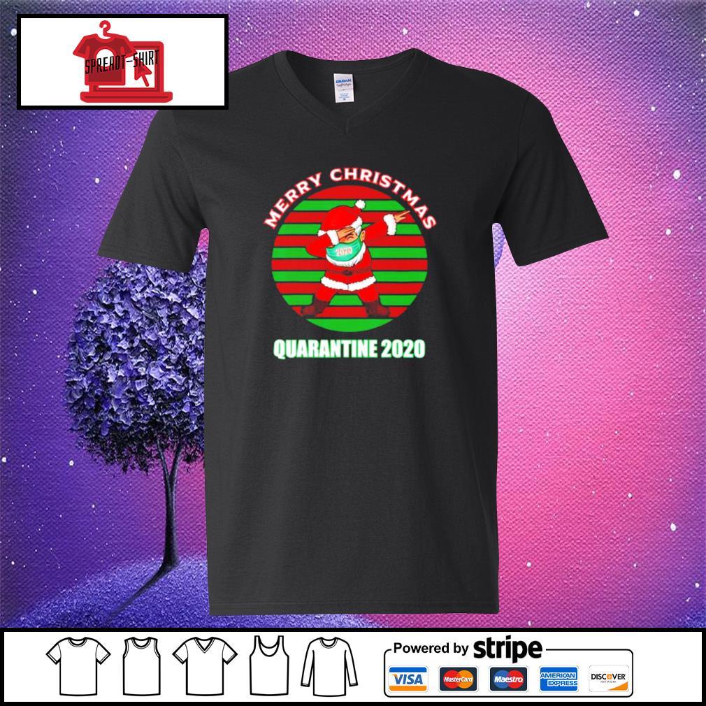 Merry christmas quarantine 2020 dabbing santa ugly vintage s v-neck-t-shirt