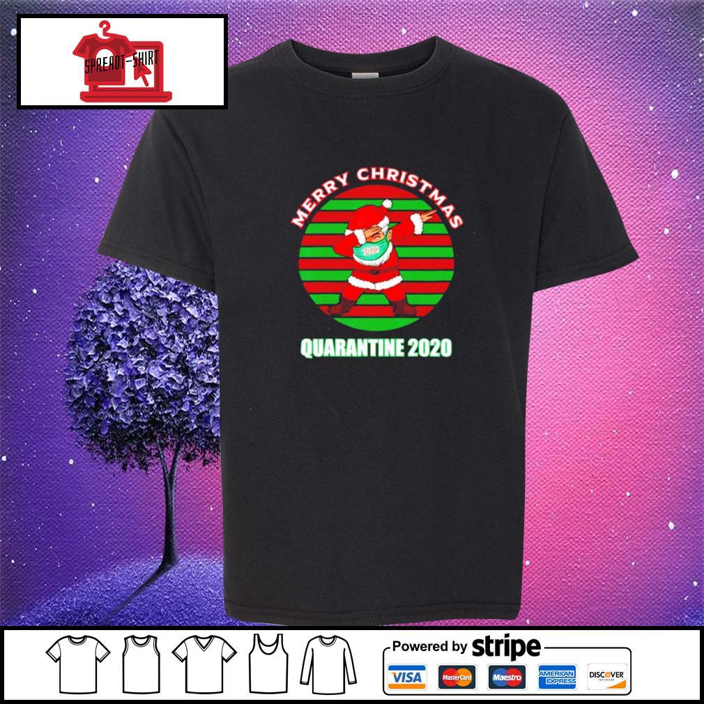 Merry christmas quarantine 2020 dabbing santa ugly vintage s youth-tee