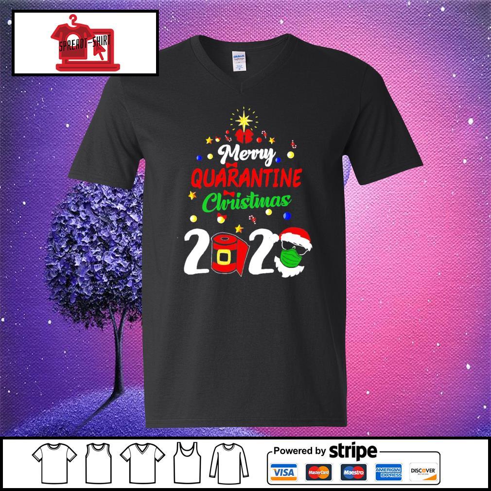 Merry Quarantine Christmas 2020 Shirt v-neck-t-shirt