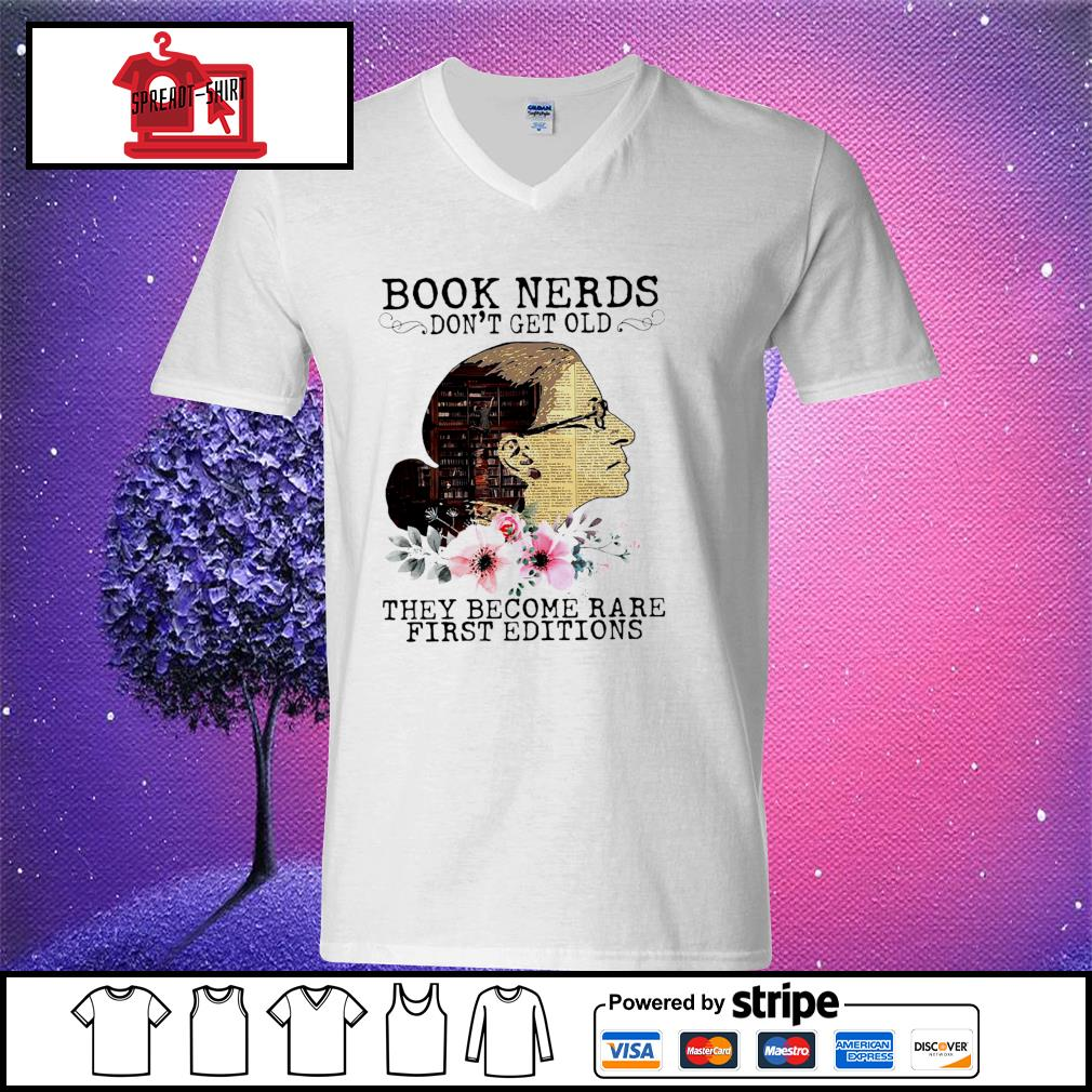RBG Notorious Book Nerds Don't Get Old They Become Rare First Editions Shirt v-neck t-shirt