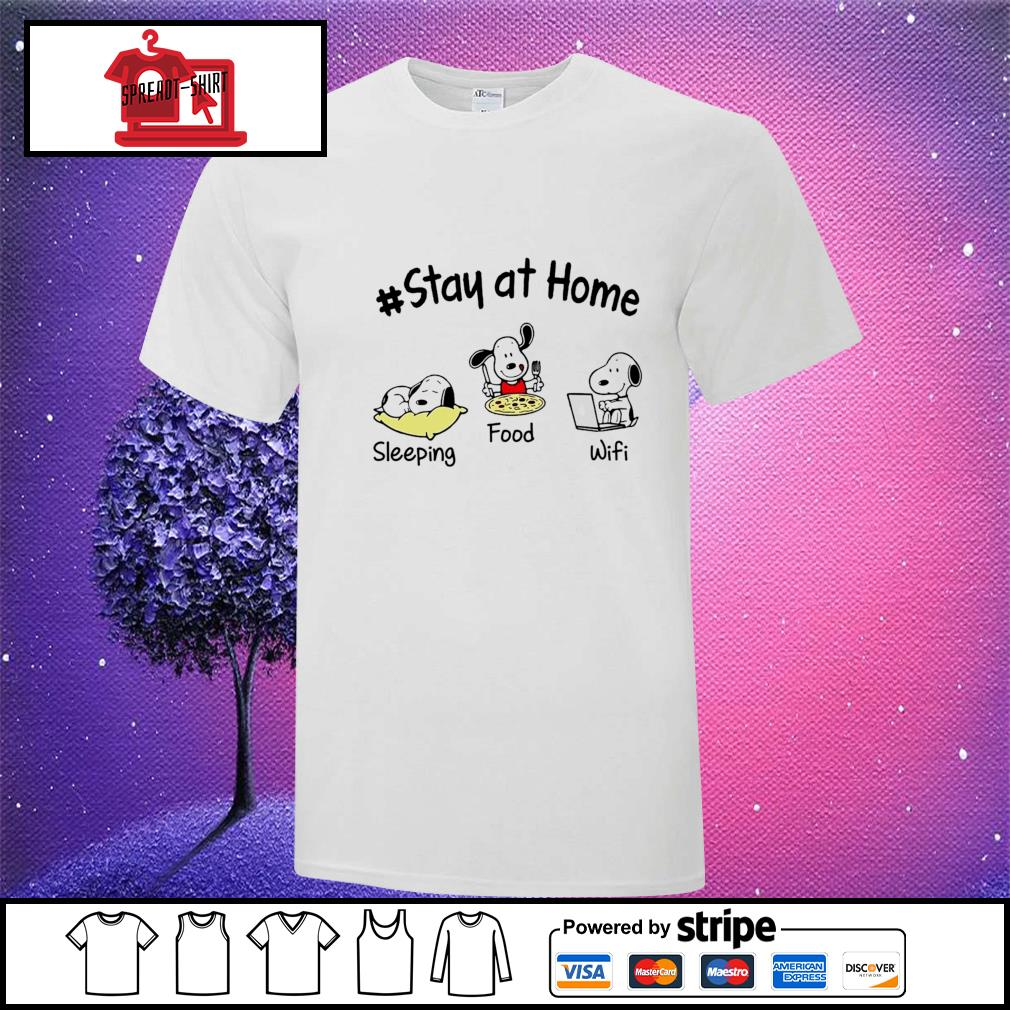 Snoopy Stay at home sleeping food wifi shirt