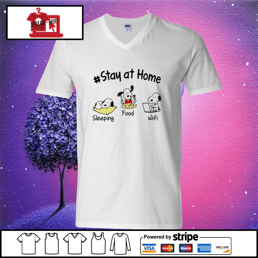 Snoopy Stay at home sleeping food wifi s v-neck t-shirt