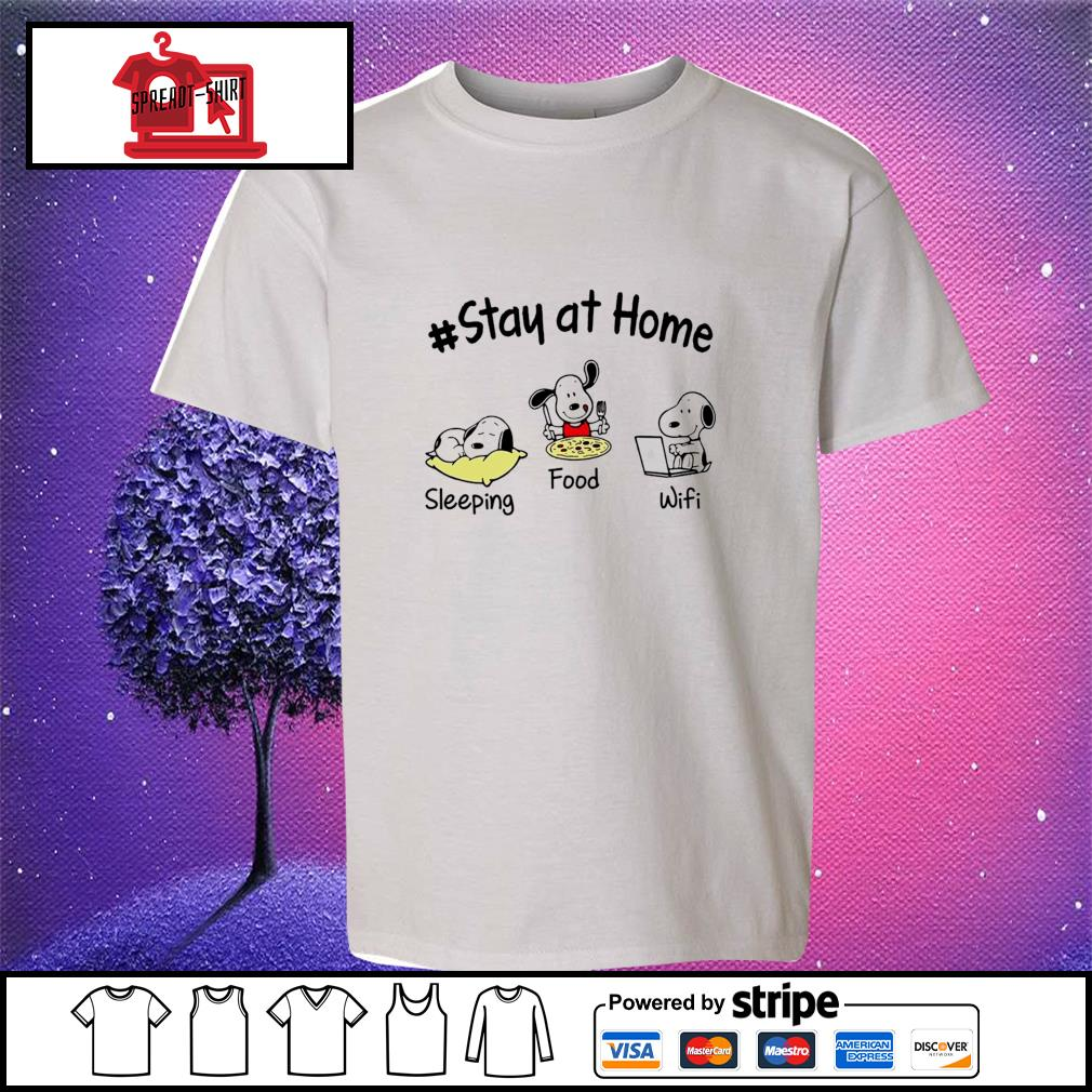 Snoopy Stay at home sleeping food wifi s youth-tee