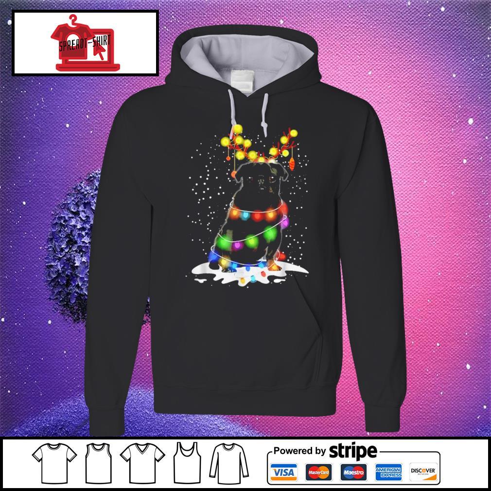Black Pug Blinker Dog Christmas Light s hoodie
