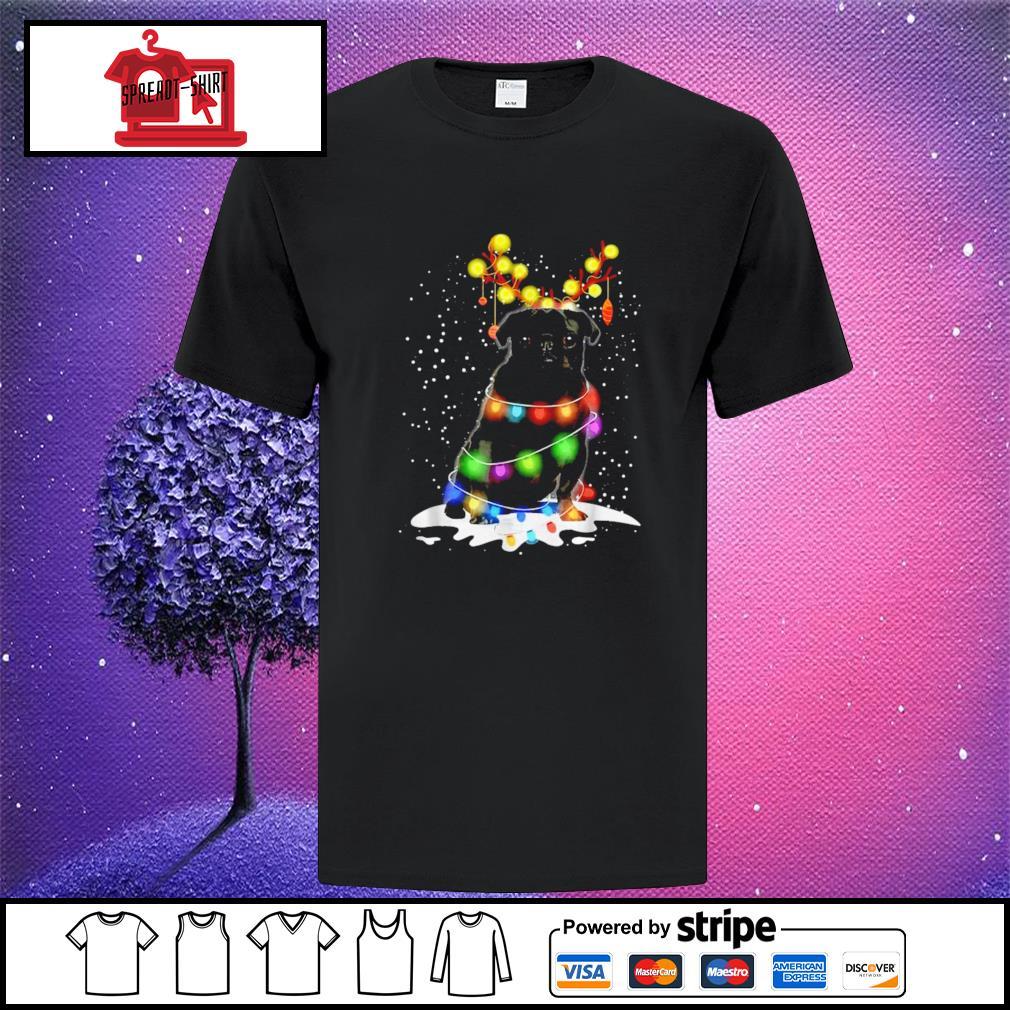 Black Pug Blinker Dog Christmas Light shirt