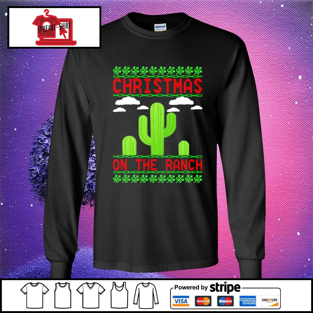 Cactus Christmas on the ranch ugly s longsleeve-tee