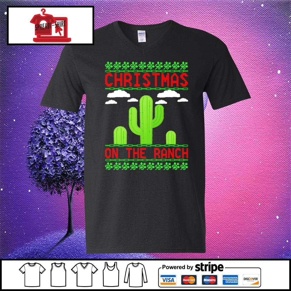Cactus Christmas on the ranch ugly s v-neck-t-shirt