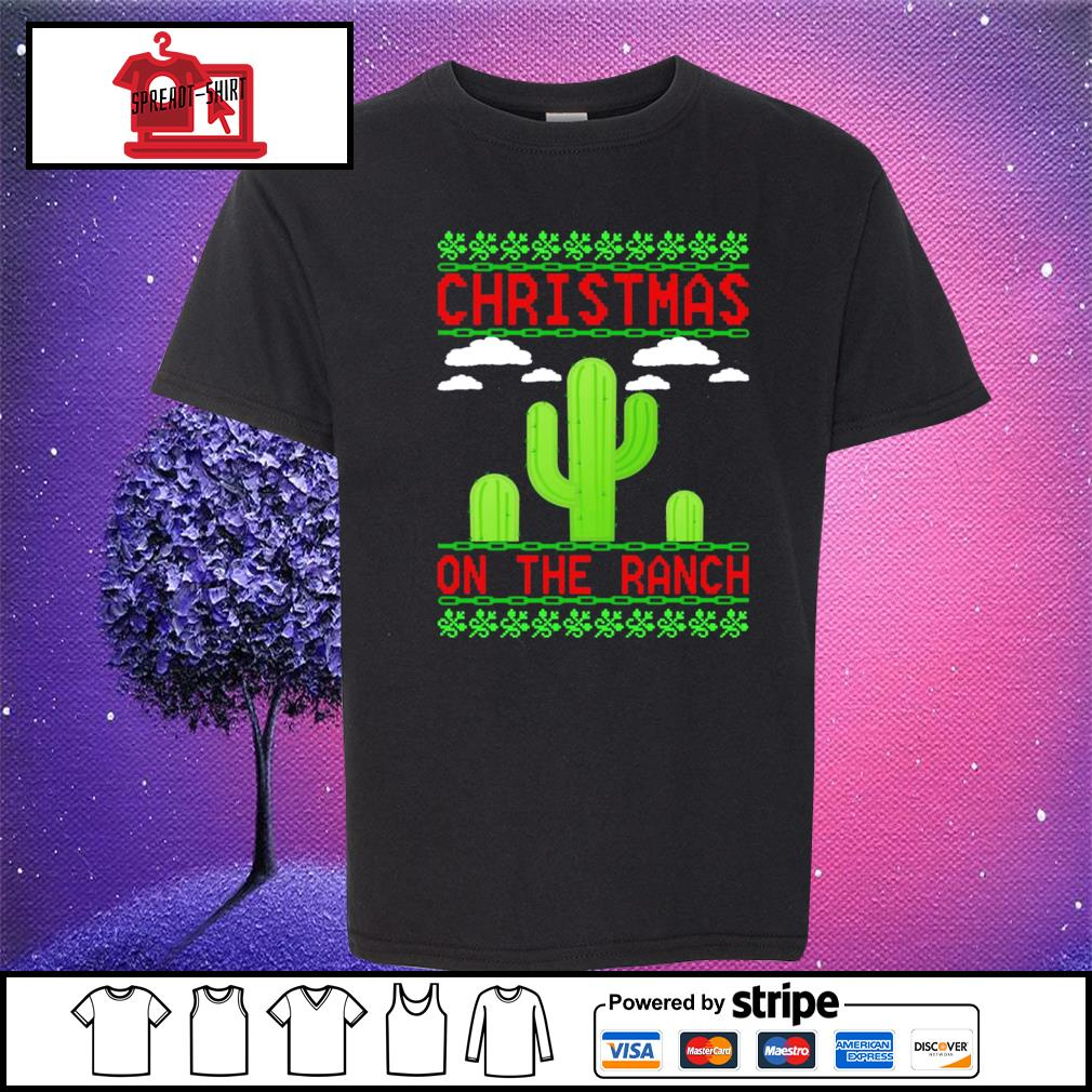 Cactus Christmas on the ranch ugly s youth-tee