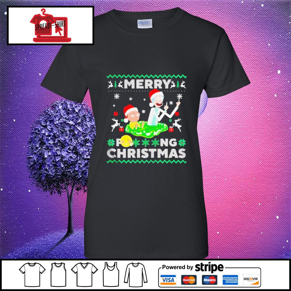 Merry Fucking Christmas Rick And Morty ugly s ladies-tee