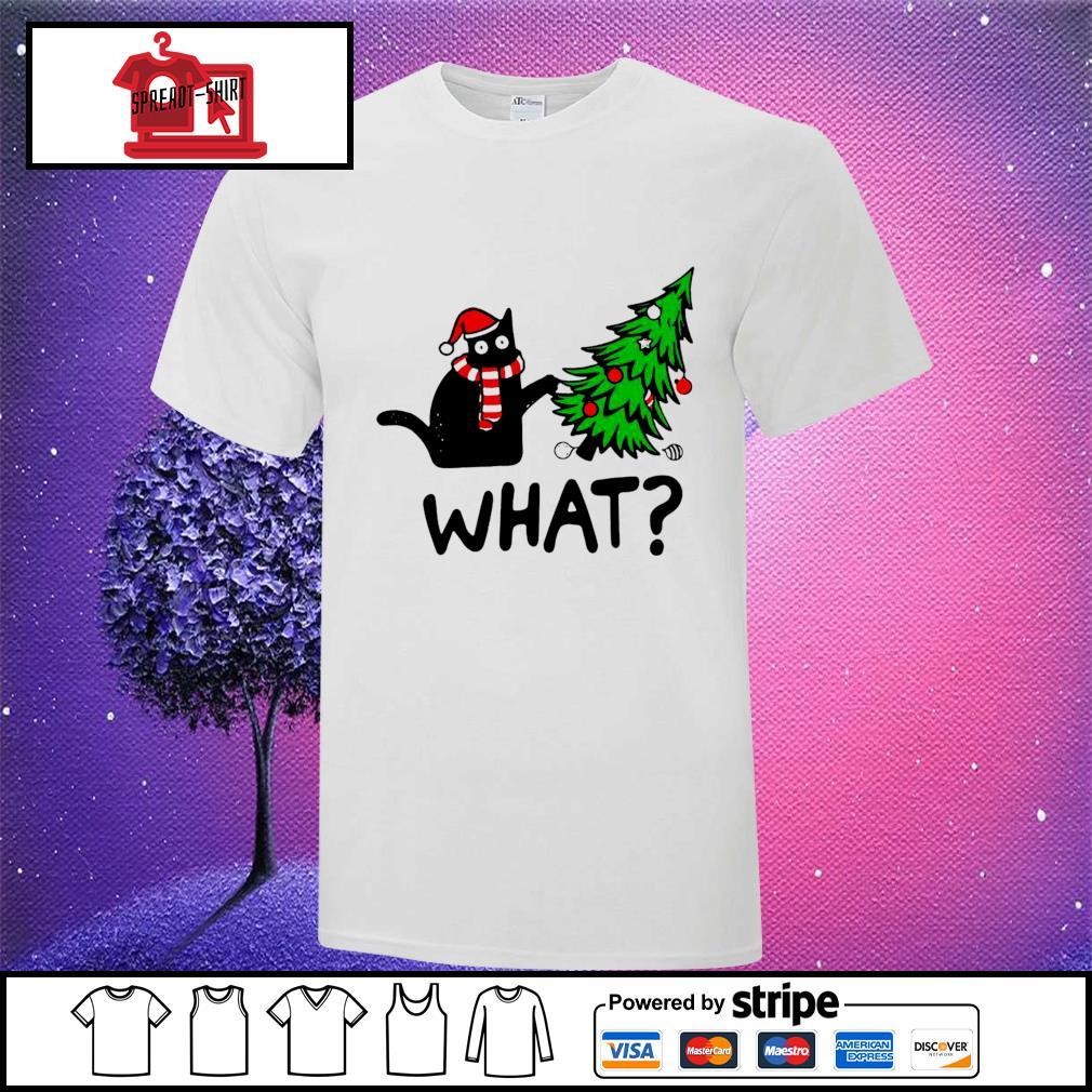 Black cat pine what Christmas shirt