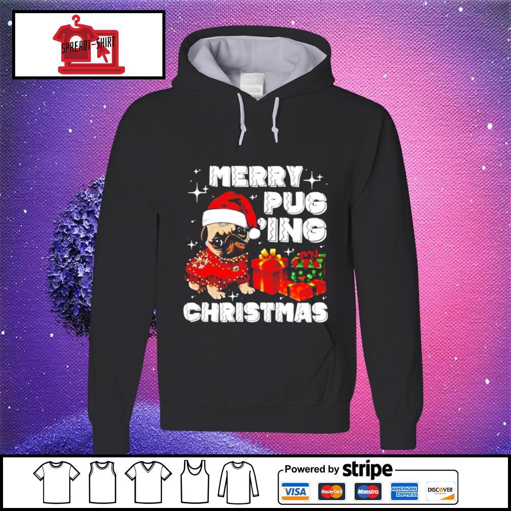 Merry Pugging Christmas with santa hat pug dog pugmas pajama s hoodie