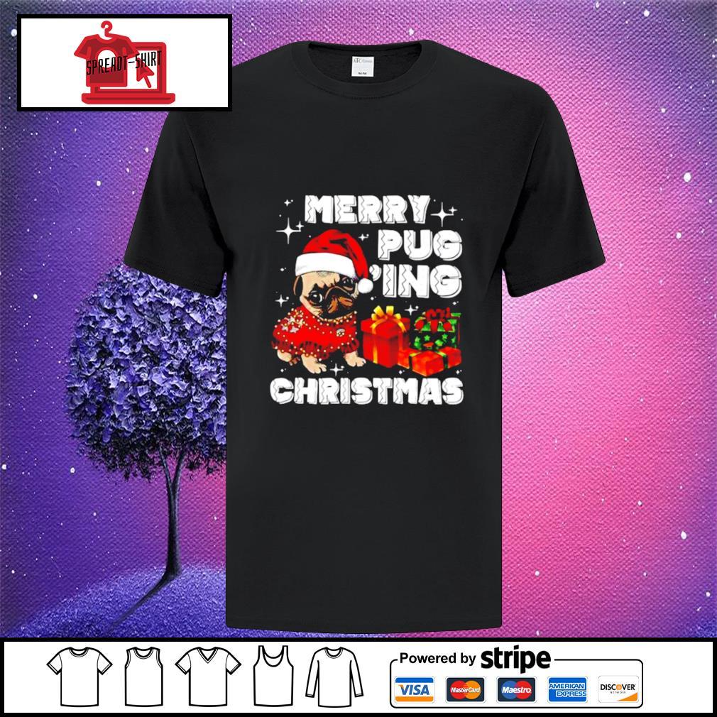 Merry Pugging Christmas with santa hat pug dog pugmas pajama shirt