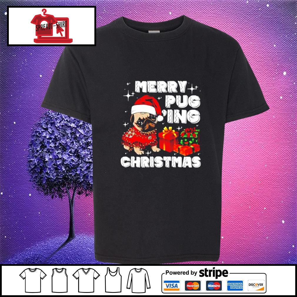 Merry Pugging Christmas with santa hat pug dog pugmas pajama s youth-tee